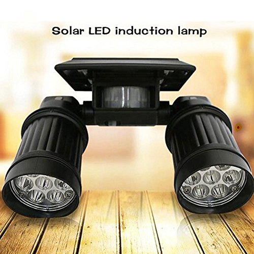 DMMSS led Solar energy high brightness Double head Spotlights Adjustable human body induction wall lamp Household Telescope light by DMMSS