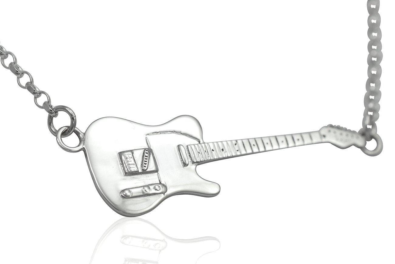 Large Sterling Silver Rick Parfitt Tribute Fender Telecaster Electric Guitar Pendant & Necklace 925 sCcZ2jt
