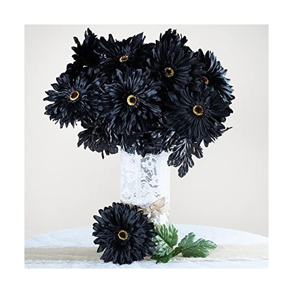 BalsaCircle 28 Black Silk Gerbera Daisy Flowers – 4 Bushes – Artificial Flowers Wedding Party Centerpieces Arrangements Bouquets Supplies