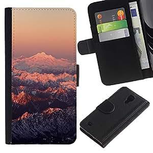 LECELL--Cuero de la tarjeta la carpeta del tirón Smartphone Slots Protección Holder For Samsung Galaxy S4 IV I9500 -- Montaña Nevada Sunset --