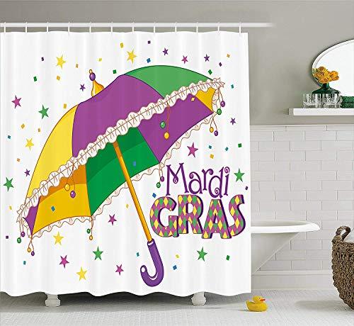 Mardis Gras Curtain - Franala Mardi Gras Parade Preparations Umbrella Stars Confetti Figures Joyful Fun Party Purple Yellow Green Polyester Fabric Shower Curtain Sets Hooks Creative Bathroom Shower Curtain