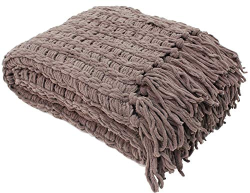Luxury Throw Blanket - J&M Home Fashions Luxury Chenille Woven Knitted Throw Blanket with Fringe (50x60