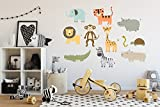 Colorful Safari Wall Decal Set (Large Set- animals range from 12'' - 38'' tall)