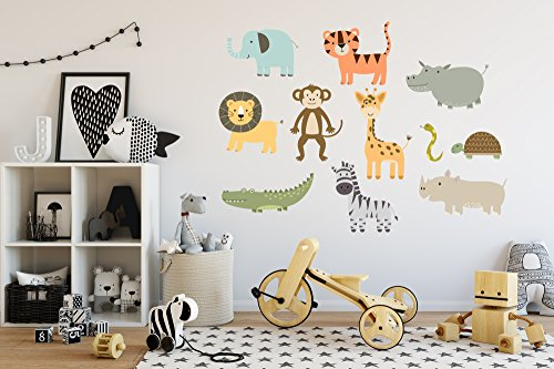 Colorful Safari Wall Decal Set (Large Set- animals range from 12'' - 38'' tall) by American Sign Letters
