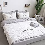 Fringe Bedding Sets White&Grey - MeMoreCool 100% Cotton Embroidery Princess Room Home Textiles Duvet Cover and Fitted Sheet Twin Girls Gifts