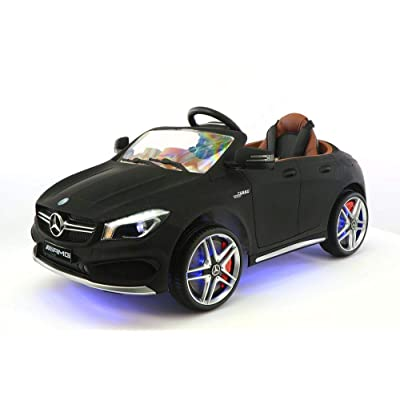 2020 12V Mercedes CLA45 Electric Powered Battery Operated LED Wheels Kids Ride on Toy Car with Parental Remote Control (Matte Black): Toys & Games