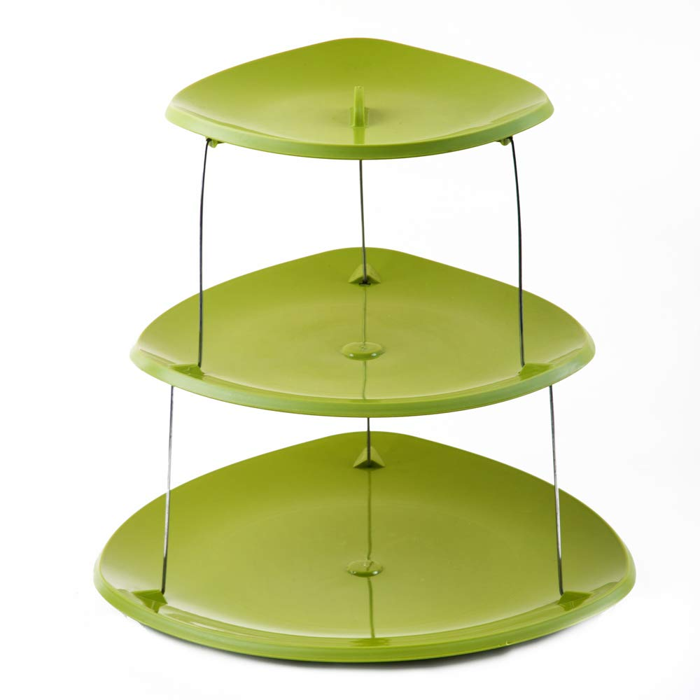 PROLOSO 3 Tier Twistfold Party Plates Collapsible Plastic Tray Cupcake Stand Food Grade Fruit Serving Platters