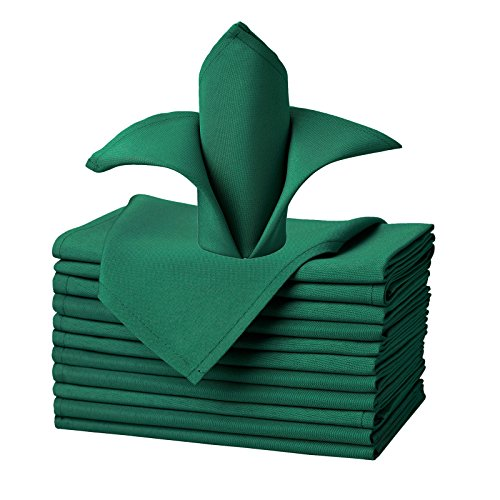 VEEYOO Oversized 20x20 Solid Polyester Cloth Napkins for Wedding Party Restaurant Dinner Christmas Washable Set of 12, Hunter Green