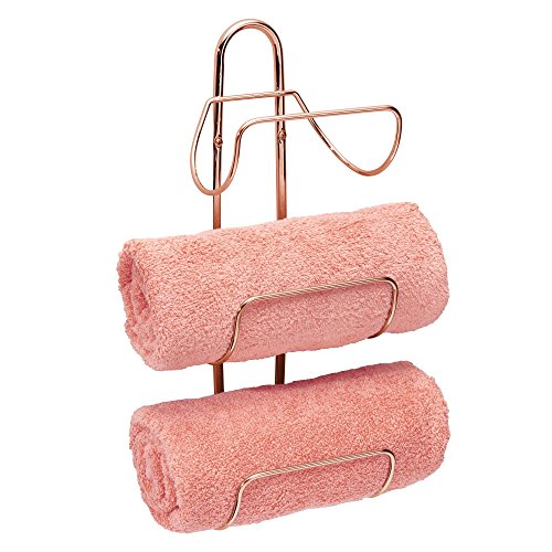mDesign Modern Decorative Metal Three Level Wall Mount Towel Rack Holder and Organizer for Storage of Bathroom Towels, Washcloths, Hand Towels - Rose Gold