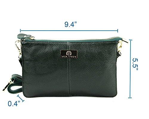 Volyer Purse Women's Bag Bag Shoulder Leather Clutch Green Dark Handbag OZwwdqHC