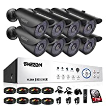 [Better Than 1080N]TMEZON 16CH 1080P AHD Video DVR Security System 8 AHD 2.0MP Super Night Vision 42 IR LEDs HD Outdoor Security Camera QR Code Scan Easy Setup with 2TB HDD