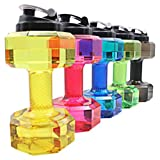 2.2L Sport Fitness Exercise Water Bottle Eco-friendly Dumbbell Shape Drinking Bottle Jug Cup with Portable Carry Handle for Gym Sports Training and Bodybuilding … (Green)