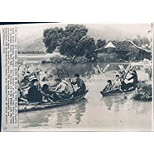 1964 Photo Vietnam War Villagers Water Flooding Homes Ninh Thuan Boats Rescue