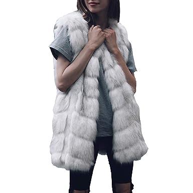 Luckycat Las Mujeres de Piel sintética señoras Chaleco sin Mangas Chaleco Chaleco Gilet Shrug Coat Outwear: Amazon.es: Ropa y accesorios
