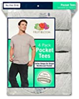Fruit of the Loom Men's  Big and Tall Size Pocket Tees(Pack of 4)