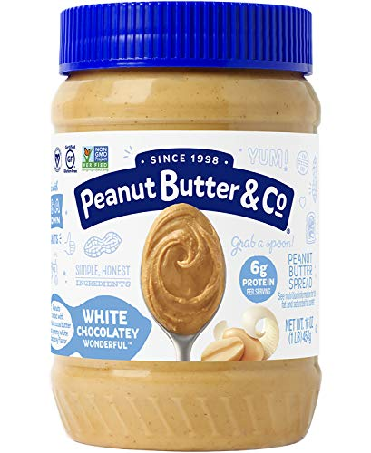 - Peanut Butter & Co. White Chocolatey Wonderful Peanut Butter, Non-GMO Project Verified, Gluten Free, Vegan, 16 Ounce Jar