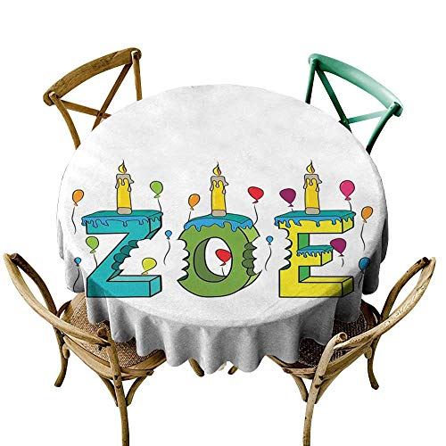 White Round Tablecloth Zoe,Colorful Festive Social Gathering Themed Girl Name Design with Birthday Candles Pattern,Multicolor D36,for Accent Table