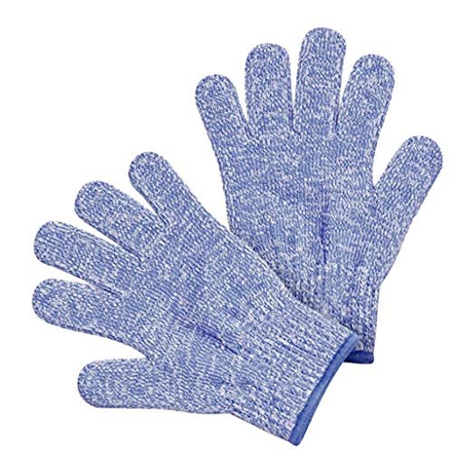 - YJYdada A Pair Cut Resistant Gloves Food Grade Level 5 Protection Working Cutting Small Adult Anti Maximum Kids Cooking Protection (Blue, M)