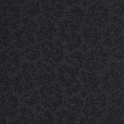 Onyx Black Floral Brocade Upholstery Fabric by the yard