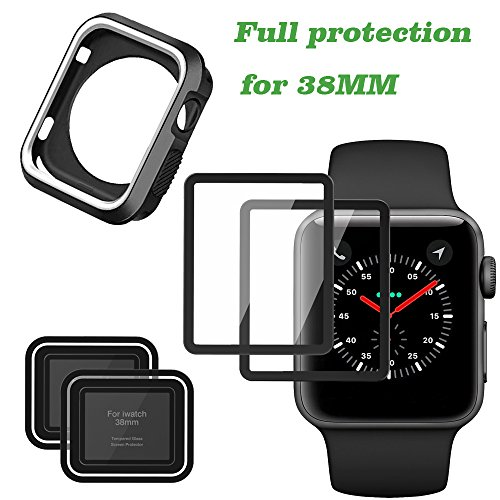Screen Protector for Apple Watch and Apple iWatch Case for Series 3/2, Full Coverage Iphone Watch Tempered Glass Screen Protector (Black and White &38mm) by Herozone