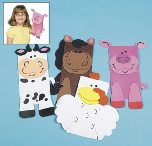 Fun Express 12 Farm Animal Puppets Paper Bag