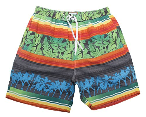Tropi Sun Mens Multi Color Floral Boardshorts With Mesh Lining (Medium,Green)