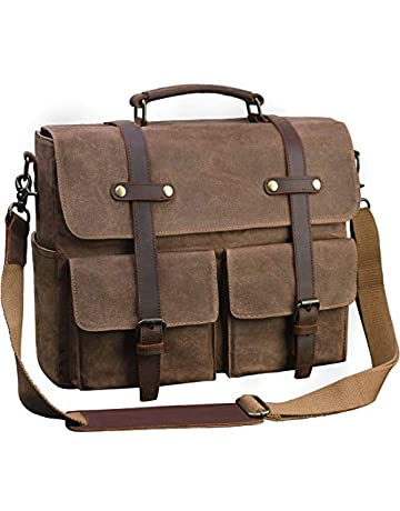 f0c51a0ba Laptop Messenger Bag for Men 15.6 Inch Waterproof Vintage Waxed Canvas  Briefcase Genuine Leather Satchel Shoulder