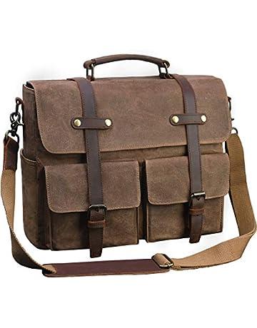 389904bda5 Laptop Messenger Bag for Men 15.6 Inch Waterproof Vintage Waxed Canvas  Briefcase Genuine Leather Satchel Shoulder