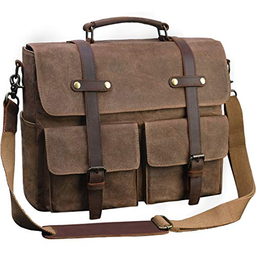 Laptop Messenger Bag for Men 15.6 Inch Waterproof Vintage Waxed Canvas Briefcase Genuine Leather Satchel Shoulder Bag Large Retro Computer Laptop Bag,Brown