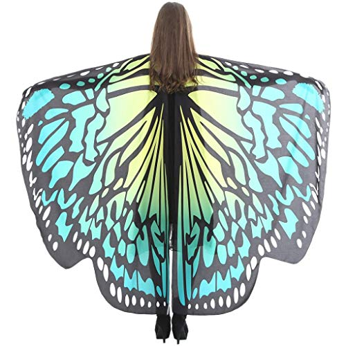 iDWZA Women Butterfly Wings Shawl Scarves Pixie Party Cosplay Costume Accessory(168135cm,Green D)