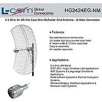 L-Com HG2424EG-NM - 2.4 GHz 24 dBi Die Cast Mini-Reflector Grid Antenna