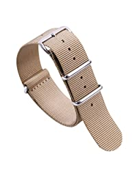 22mm Beige Luxury Exquisite Men's One-Piece Nato style Exotic Nylon Perlon Watch Band Strap for Men