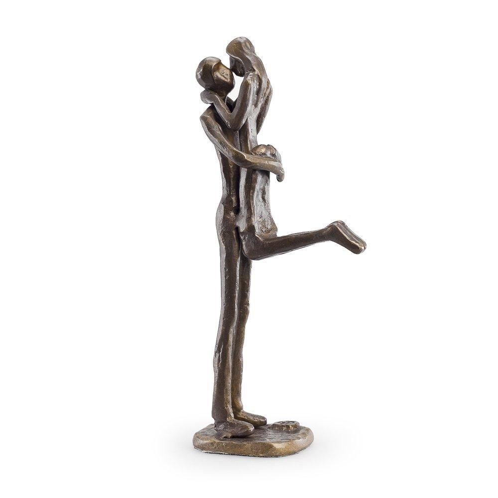 Danya B. ZD12056 Metal Art Shelf Décor - Contemporary Sand-Casted Bronze Sculpture - Passionate Kiss