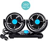Manukey 12V Fan Car Air Conditioner Auto Fan, Dual Head Car Fan 2-Speed Car Air Circulator Fan
