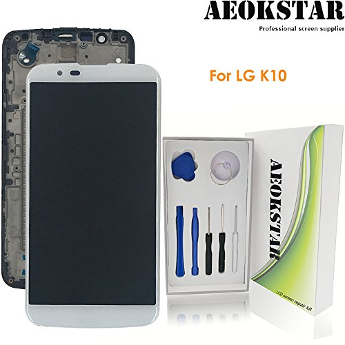 Aeokstar For LG k10 2016 K410 K420 K420N K430 K430DS K430DSF K430DSY LCD Touch Screen Digitizer Glass Assembly Replacement + Frame & Full Repair Tools Kit (White+Frame) from AEOKSTAR
