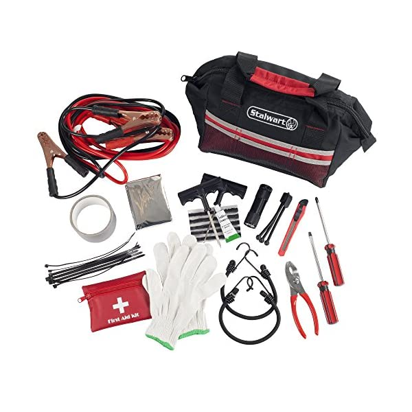 Stalwart 75 EMG1053 Red Emergency Roadside Kit With Travel Bag, 55 Piece
