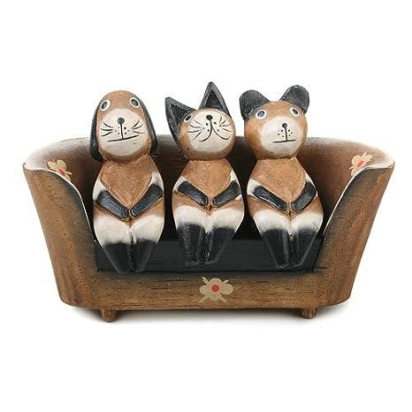 Buzz Juego de Madera de 2 Cool - Figuras de Gatos y Perro en sofá Figura/Decoración/15 cm: Amazon.es: Hogar