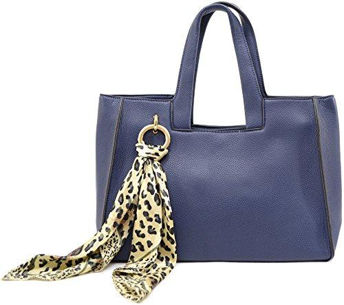 Damenschultertasche/-Handtasche aus modischem Kunstleder, geräumig Dunkelblau