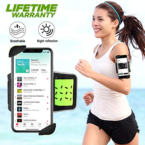 (Cell Phone Armband, Phone Holder for Running Armband, Sports Arm Bands for iPhone XR/XS Max/XS/X/8/8 Plus, Samsung Galaxy S10/S9/S8/Note 9 and All 4~6.5 Inch Phones (Green))