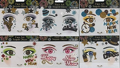[Sequin Face Art Decor New Years Celebration (6 Pack) (New Years)] (Dance Costumes For Competition For Adults)