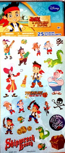 Disney Jake and the Never Land Party Favor Stickers 25 Count (Peter Pan Jake And The Neverland Pirates)