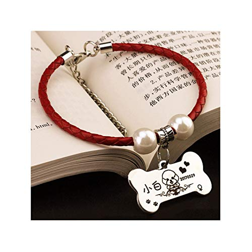 - Aokarry Pet Dog Metal PU Leather Basic Collars Braided Rope ID Tag Bone-Red Silver-S Suitable for Weight Within 1.5-4 kg