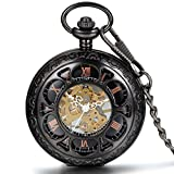 JewelryWe Half Hunter Pocket Watch with Chain Black Dial Steampunk Mechanical Hand Wind Movement