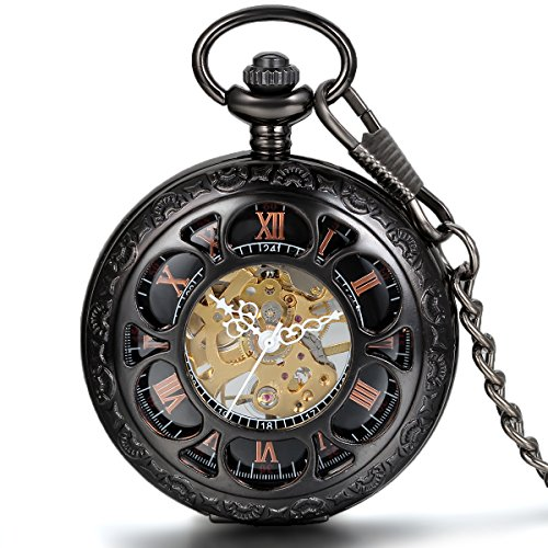 JewelryWe Half Hunter Pocket Watch with Chain Black Dial Steampunk Mechanical Hand Wind Movement by Jewelrywe