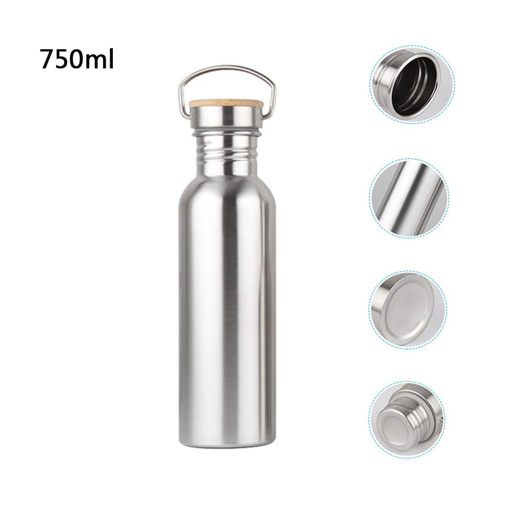 Lixada Stainless Steel Drinking Bottle,Single Walled Vacuum Insulated Sports BottleBPA-Free Leak-Proof with Bamboo Lid for Cyclists,Runners Hikers,Beach Goers,Picnics,Camping