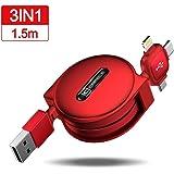 CAFELE 巻き取り式 3in1 充電ケーブル Type-C/Micro USB対応ケーブル 同時給電/データ転送 1.5m (レッド)
