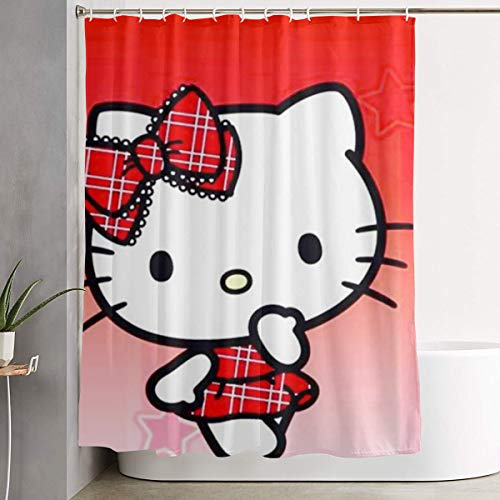LYULIAN Red Hello Kitty with Hook Stylish Shower Curtain Printing Waterproof Bathroom Curtain 60 X 72 Inches