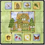 Cabin in the Woods by Sara Mullen - Lodge Art Tumbled Marble Tile Mural 16'' x 16'' Kitchen Shower Backsplash