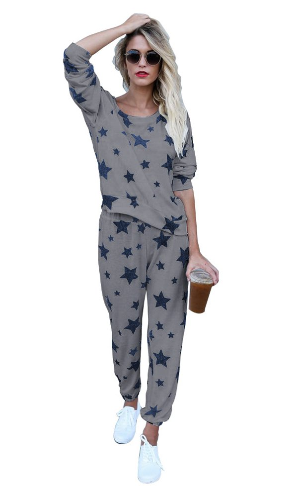 Mycherish Women Round Neck Cotton Flannel Pajamas Two Pieces Set with Star Pattern X-Large Grey