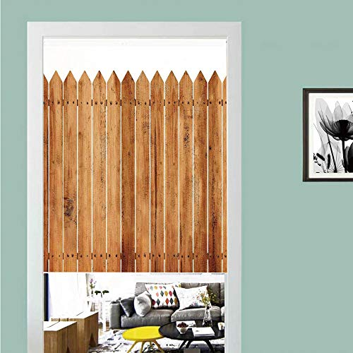 3D printed Magic Stickers Door Curtain,Farm House Decor,Triangle Edged Timber Border Stripes Siding Woodwork Enclosing Tool Image,White Brown ,Privacy Protect for Kitchen,Bathroom,Bedroom(1 - Siding Decor House